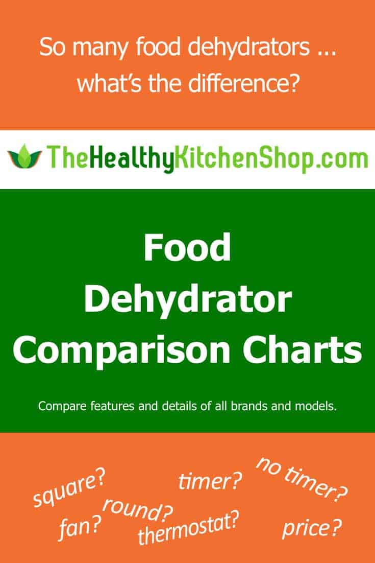 Food Dehydrator Comparison Charts at TheHealthyKitchenShop.com