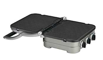 Cuisinart Griddler opened flat with ribbed grill plates on both sides