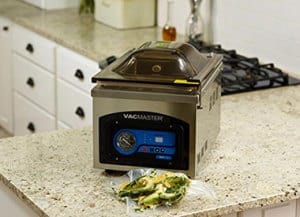 View of VacMaster VP210 Chamber Vacuum Sealer on kitchen countertop