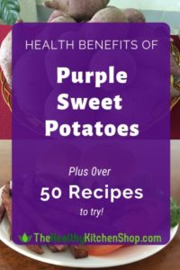 What a delicious way to improve your diet! Click through for a list of all the health benefits of purple sweet potatoes, then choose from more than 50 scrumptious recipes. Makes eating healthier fun for kids, and for the kid in all of us. #recipes #purplesweetpotatoes #eatinghealthy #cookinghealthy